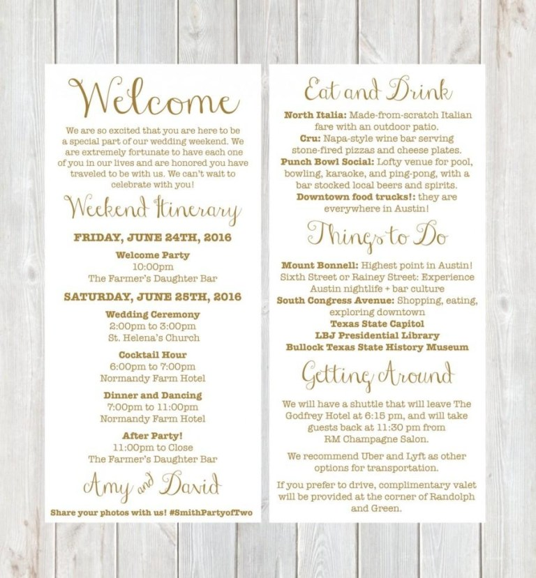 welcome letter wedding itinerary
