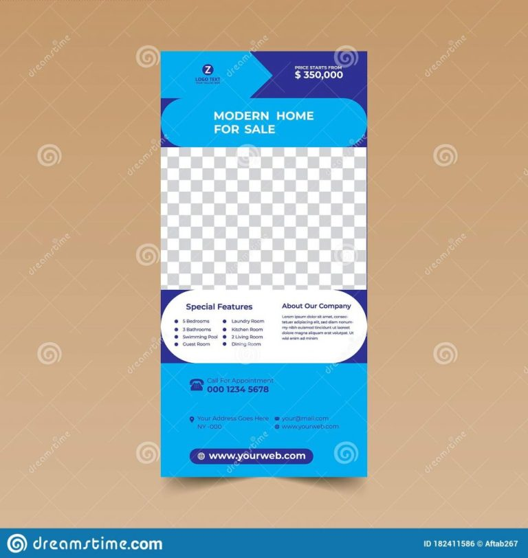 blue rack card brochure example