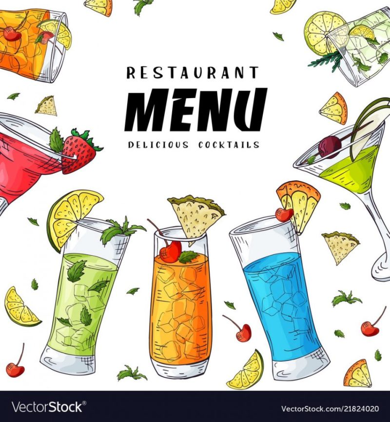 cocktail drink menu cover design