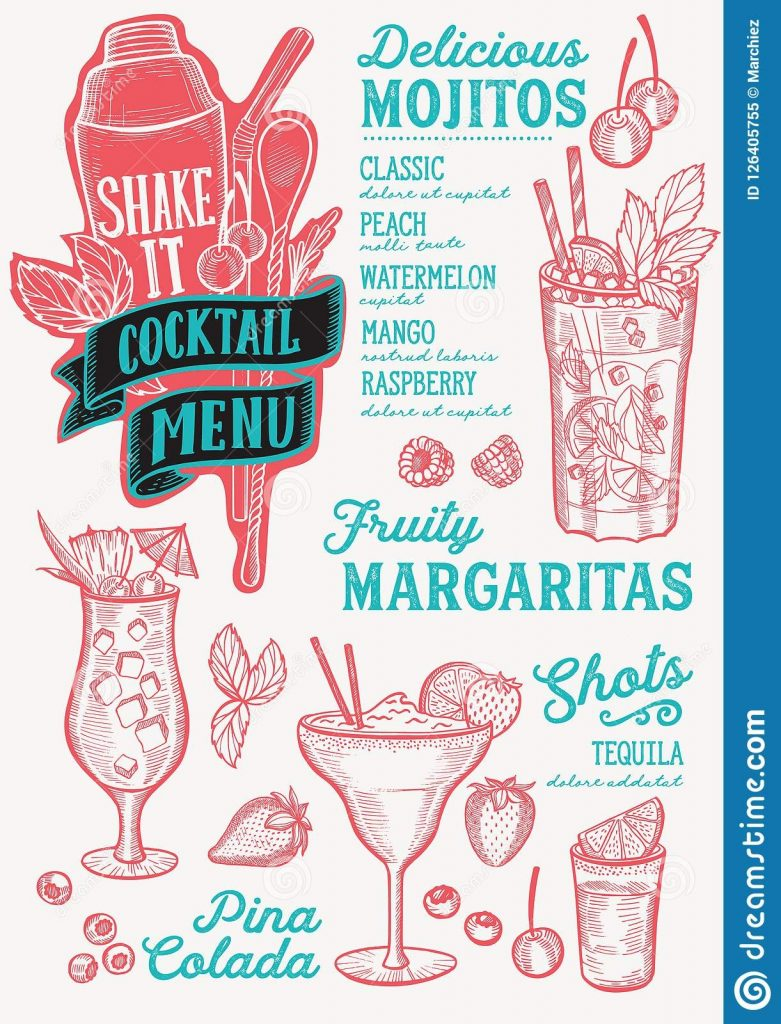 cocktail menu template for restaurant