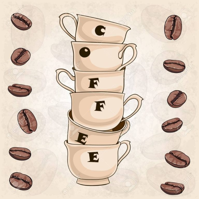 coffee cups and beans background design