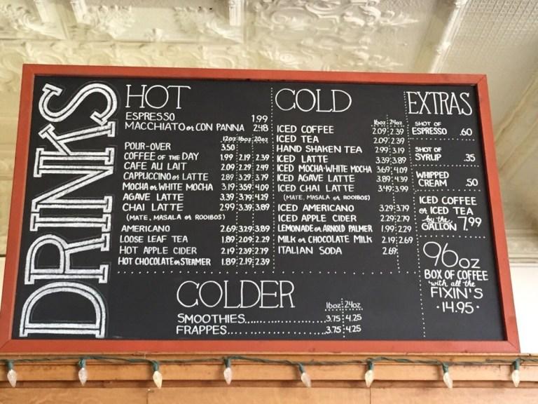 coffee shop chalkboard menu