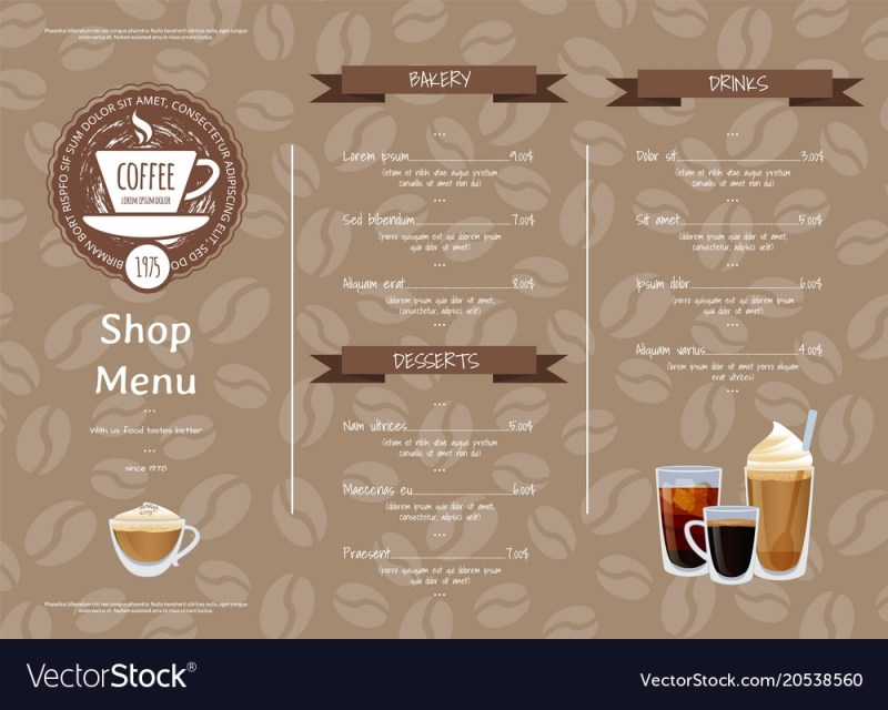 coffee shop horizontal menu template