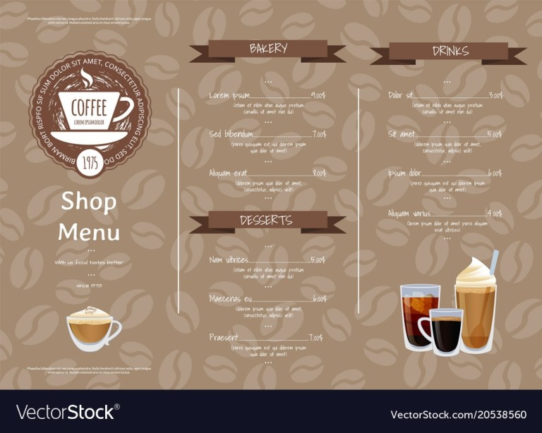 coffee shop horizontal menu template