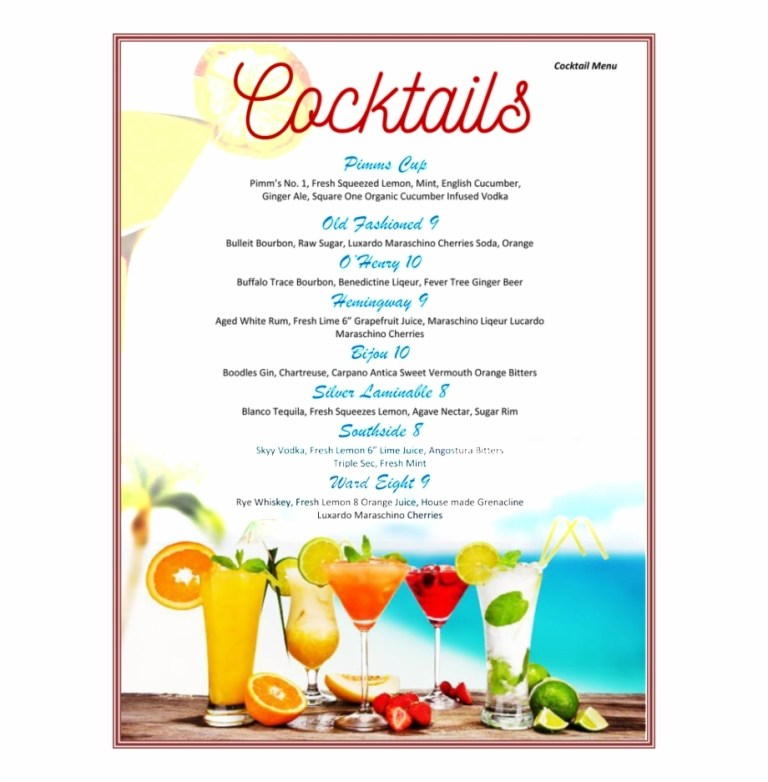 colorful cocktail menu template