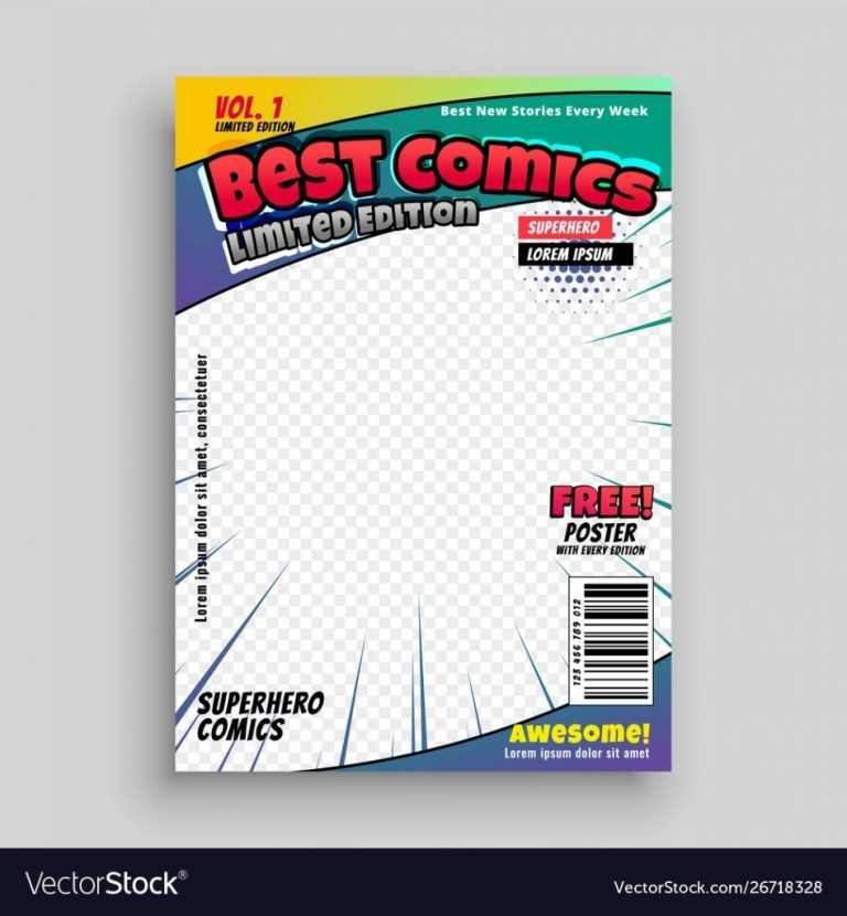 comic cover magazine front page design layout psd