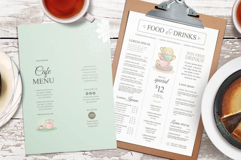 drinks menu list template psd