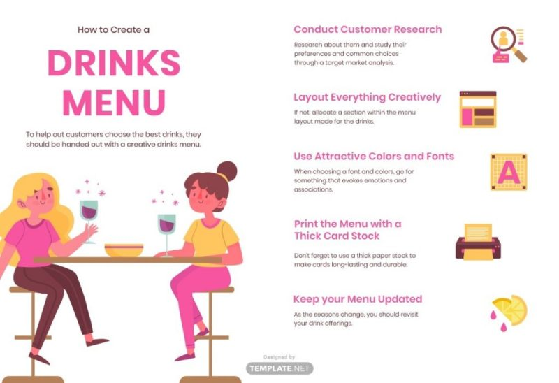 drinks menu word doc psd