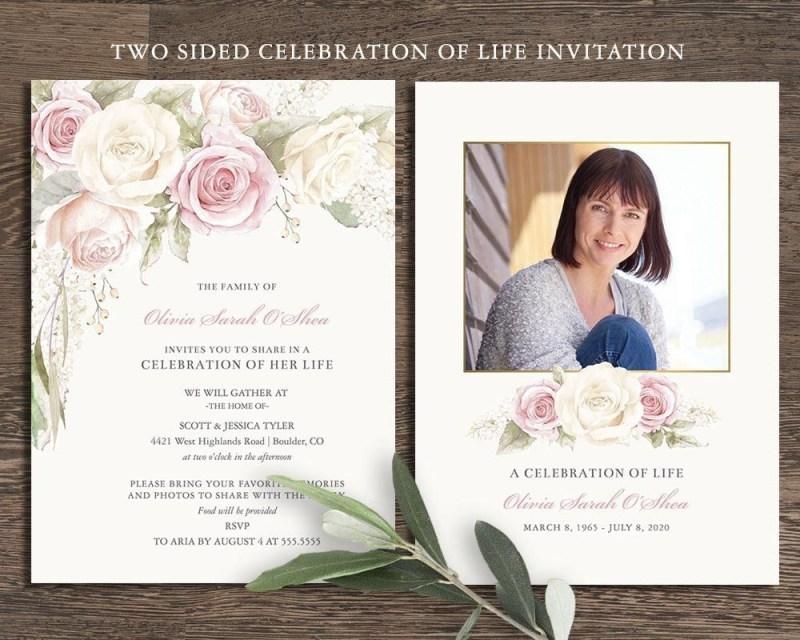 floral funeral invitation celebration of life invites