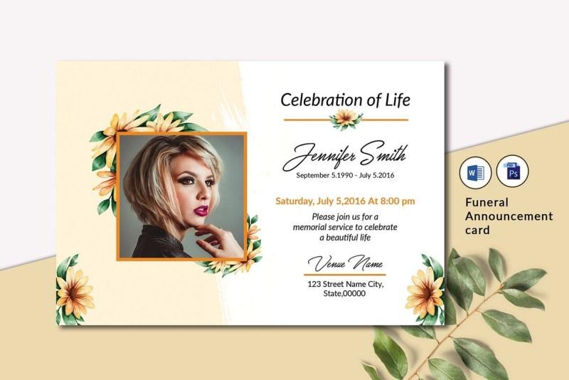 funeral announcement invitation card template