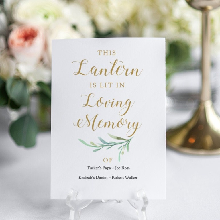 lantern in loving memory sign printable
