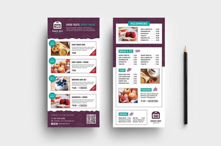 menu rack card vector