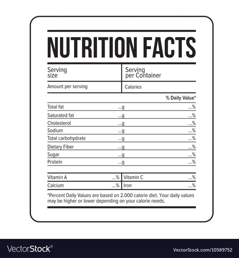 nutrition label template facts