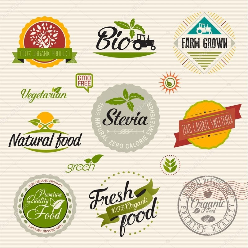 organic food label set vector