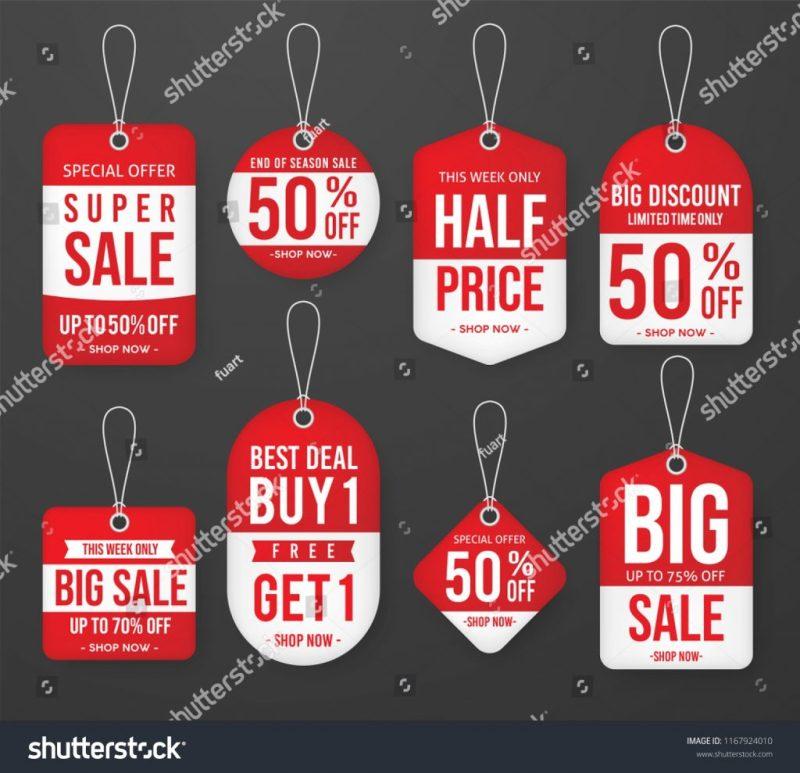 set promotion sale price tag label