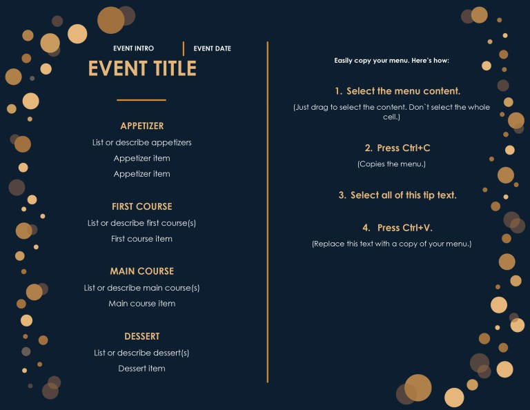 simple menu templates for restaurants and cafes