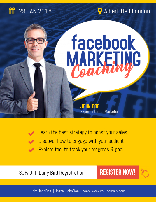 facebook marketing coaching flyer poster template