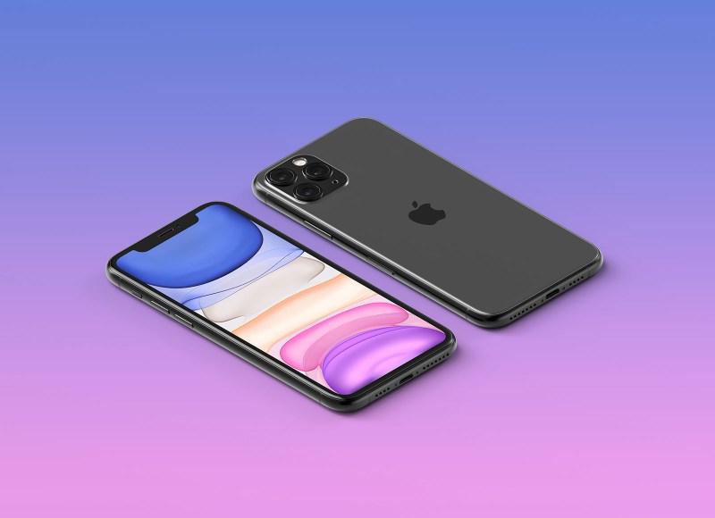 free hq isometric apple iphone 11 pro max mockup psd