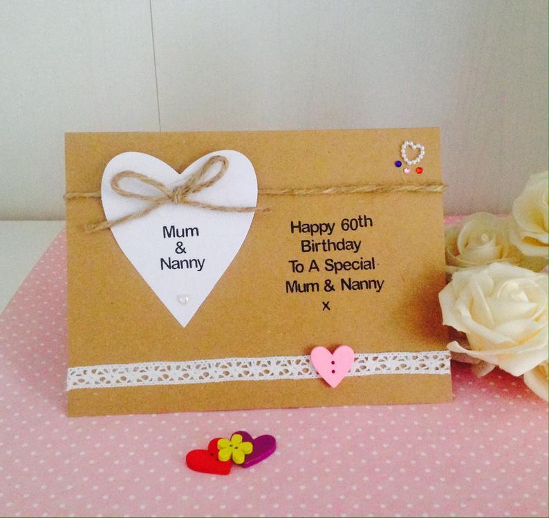 personalised handmade luxury 60th birthday card mum auntie