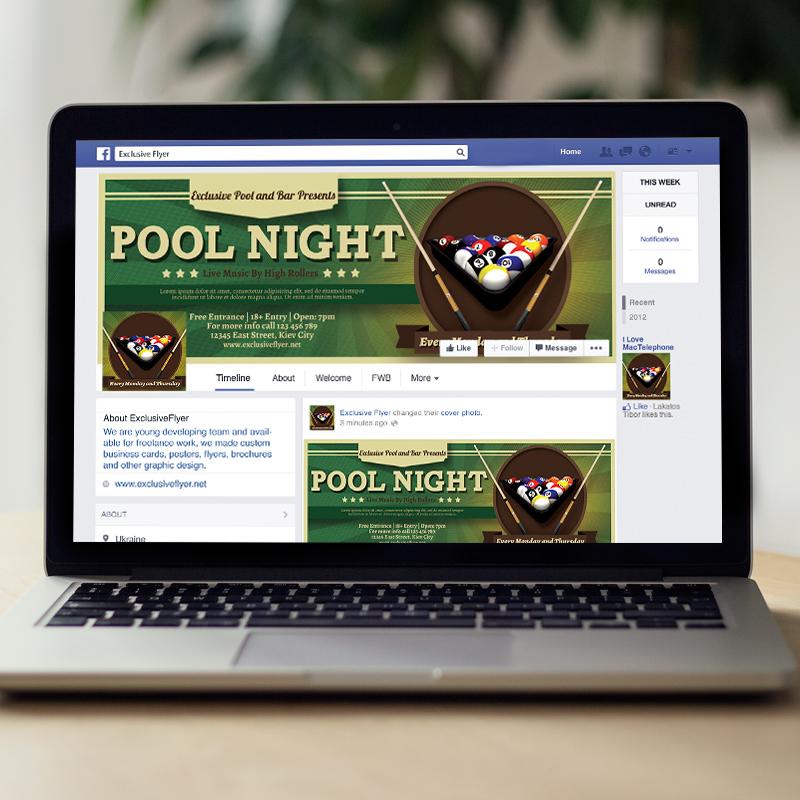 pool night premium flyer template facebook cover
