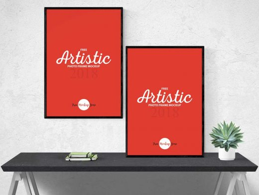 portrait photo frame pair psd mockup psd mockups