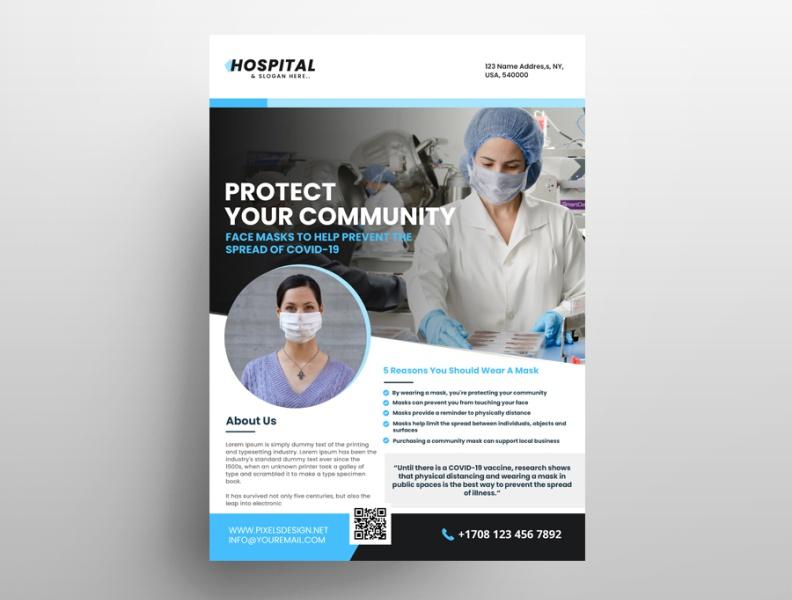 wear a mask ad free psd flyer template pixelsdesign