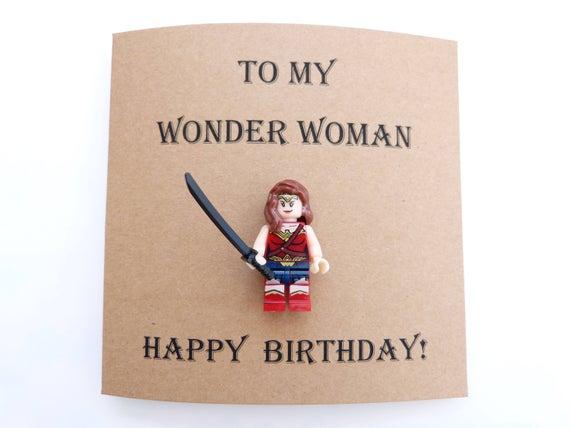 funny wife birthday card wonder woman wife card mini figure