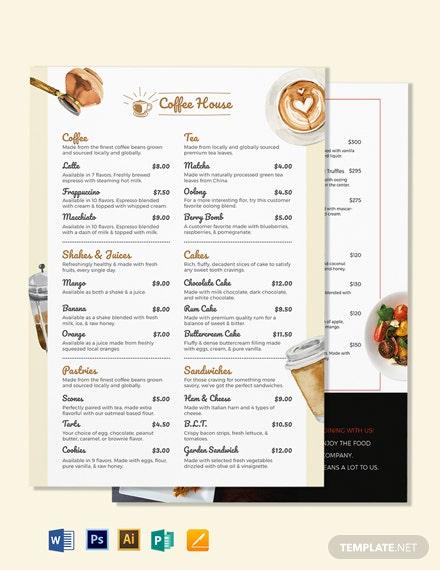 free coffee menu template word doc psd indesign