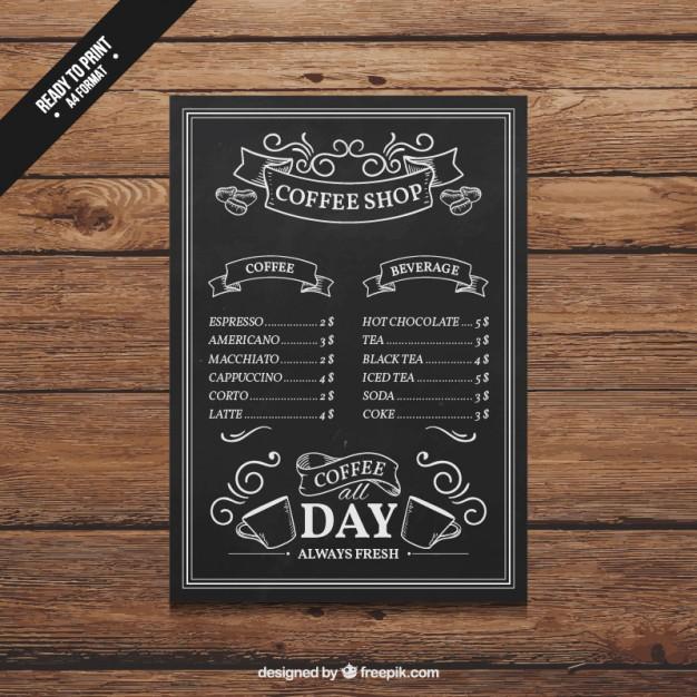 free vector hand drawn coffee shop menu
