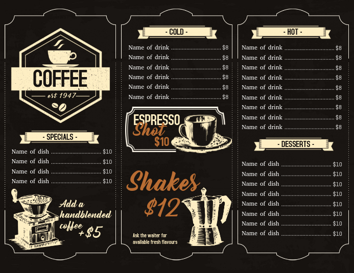 menu design for coffee house template postermywall