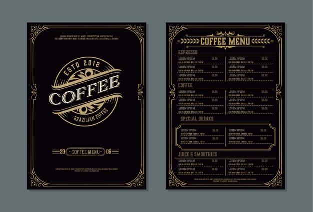premium vector coffee shop menu template vintage style