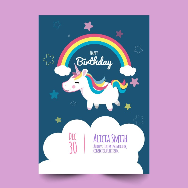 birthday card with cute unicorn download free vectors