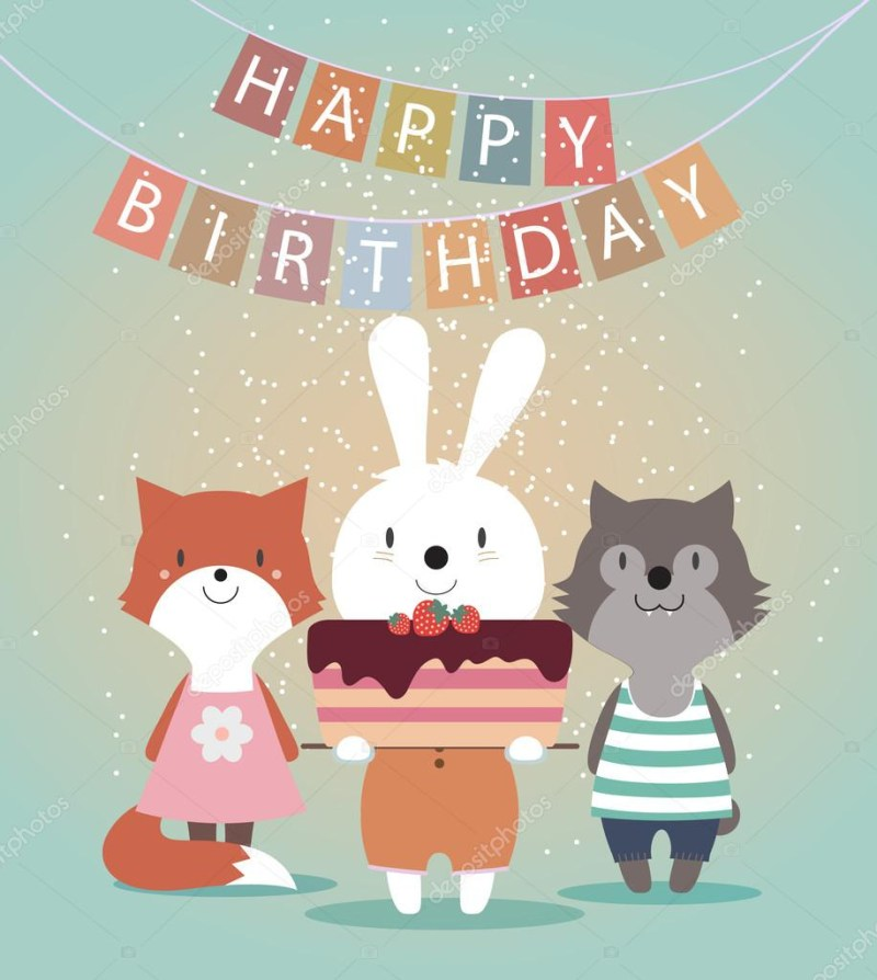 cute happy birthday card with funny animals stock vector