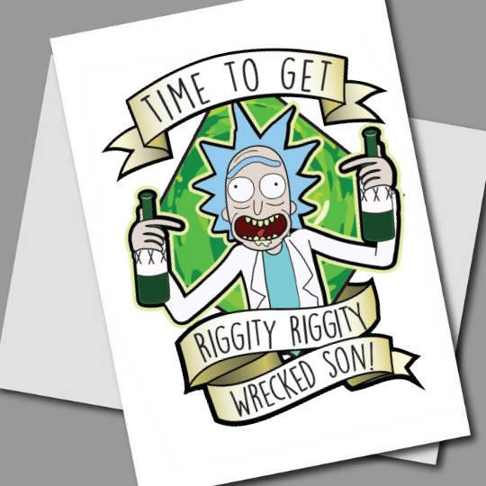 rick and morty card 5x7 printable rick and morty birthday