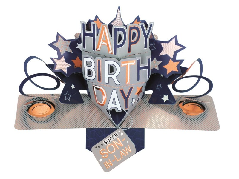 super son in law happy birthday pop up greeting card