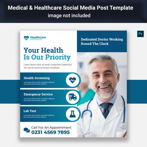 medical social media post template premium psd file
