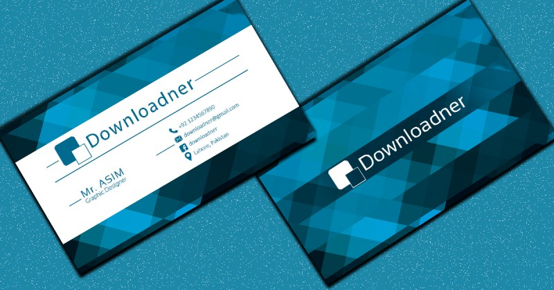 white and blue professional business card template in