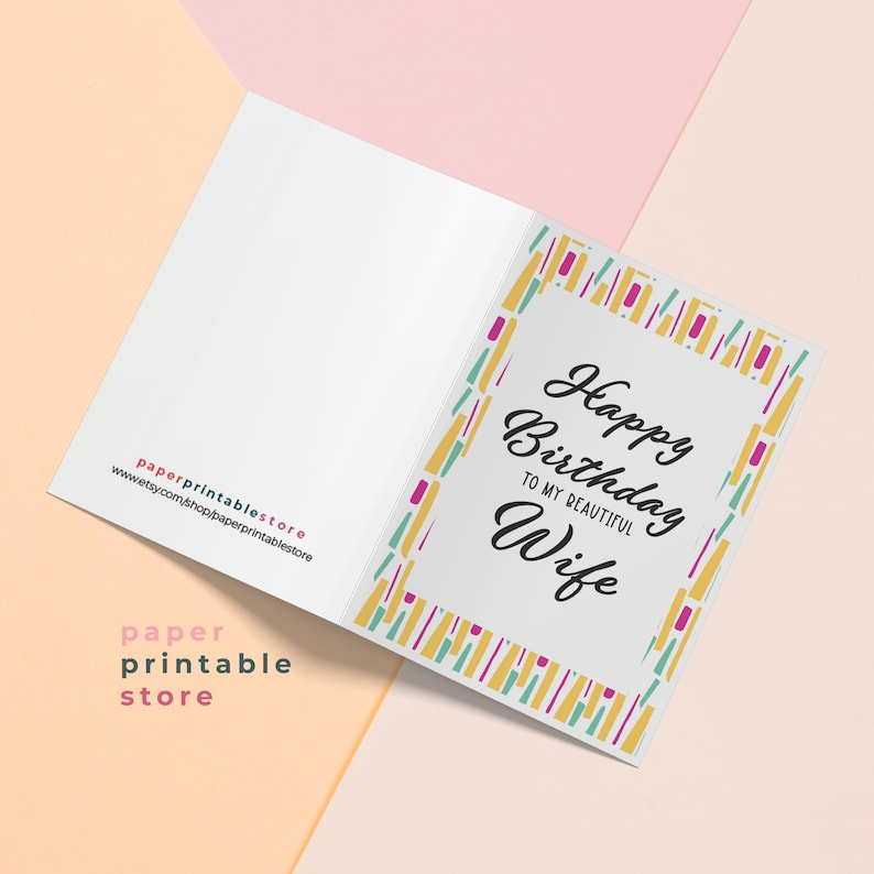 birthday card wife happy birthday wife printable card etsy