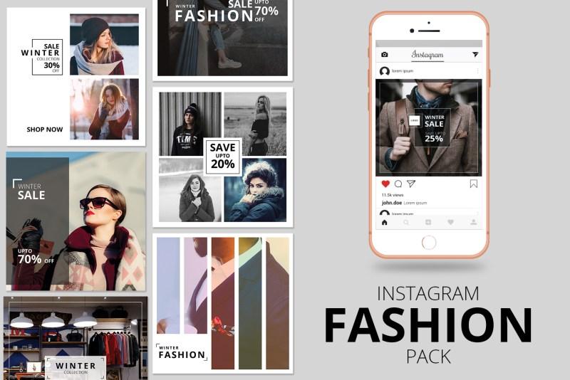 fashion instagram banner pack social media 78501
