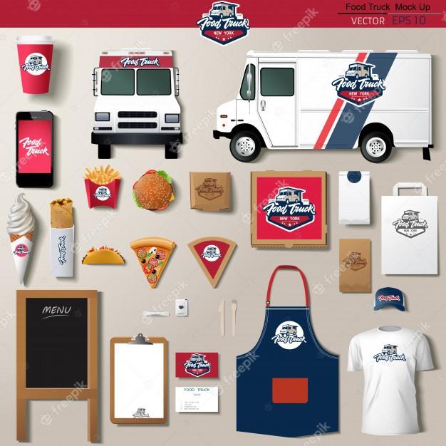 food truck corporate identity template design set