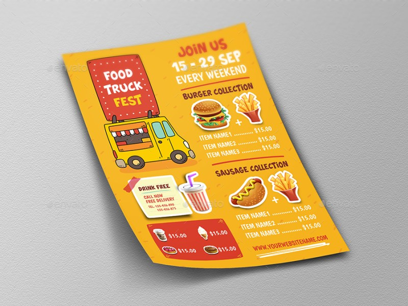 food truck menu flyer template owpictures graphicriver