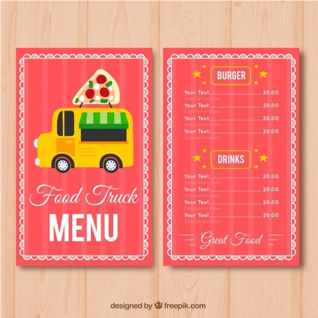 pizza food truck menu template free vector