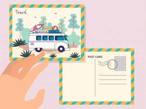 postcard template travel theme bus icon decor vectors
