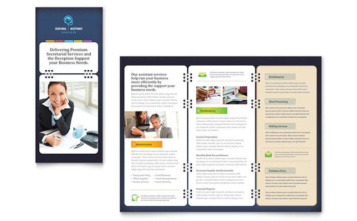 secretarial services tri fold brochure template word