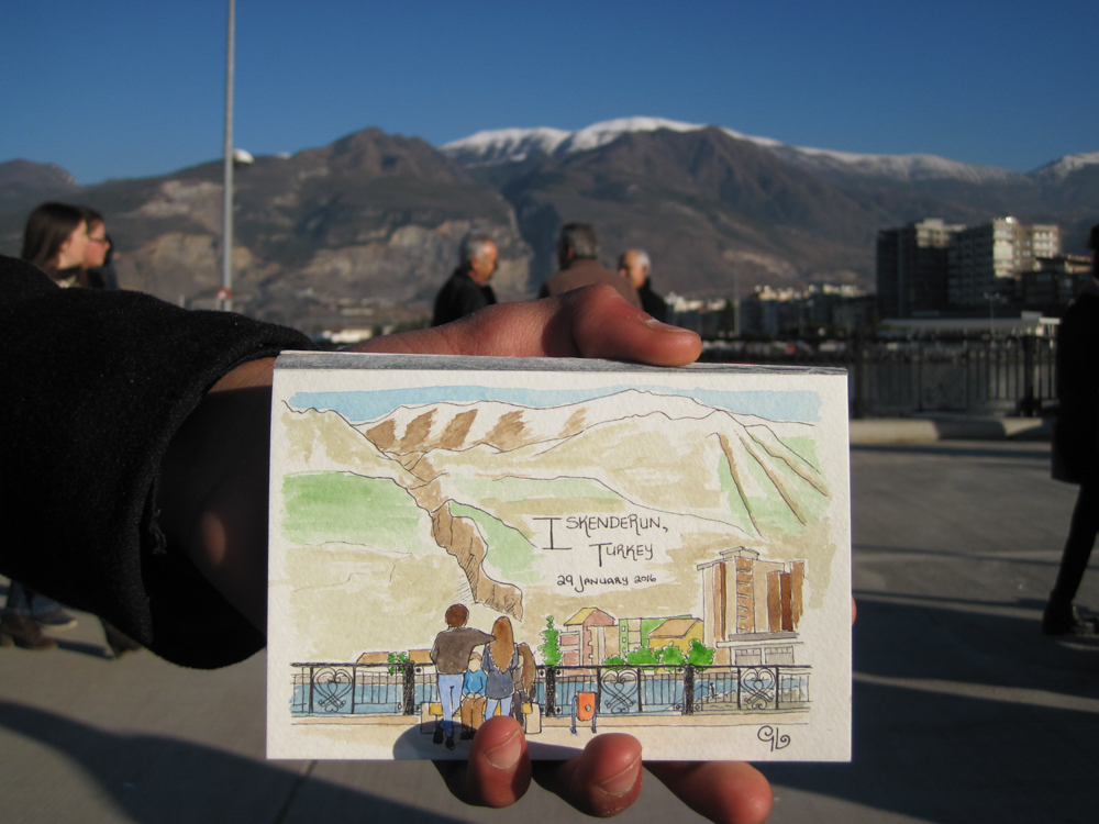 Travel sketch by Genevieve Lacombe