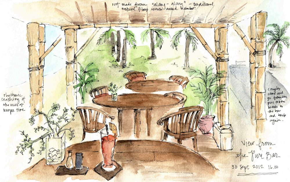 Travel sketch Indonesia