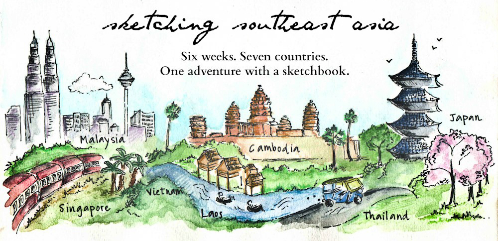 Travel sketch Southeast Asia