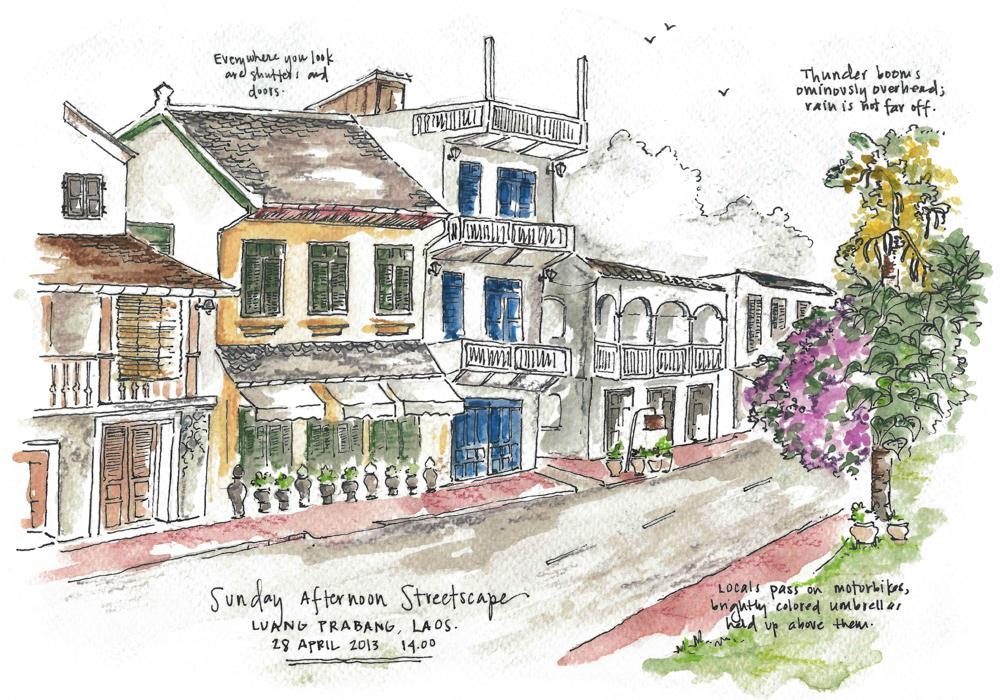 Travel sketch Laos
