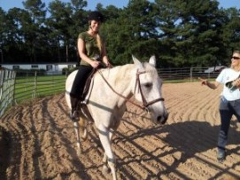"""One of our students learning to ride on the """"cadillac"""", Ethel with our riding instructor Tammy Winkel"""