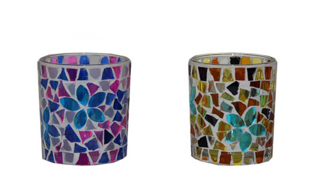 mosaic glass votive candle holders